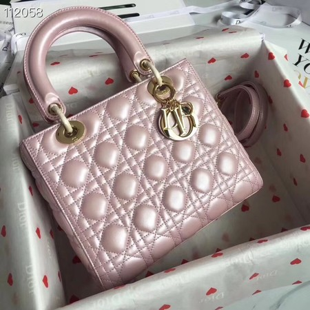 LADY DIOR LAMBSKIN BAG CAL44550 pearly-lustre pink