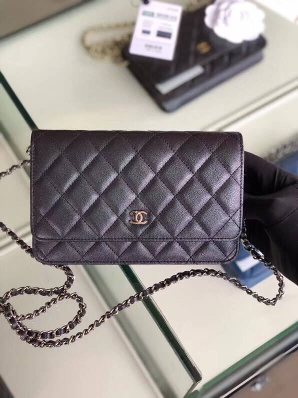 Chanel classic wallet on chain Grained Calfskin & Silver-Tone Metal 33814 Pearlescent black