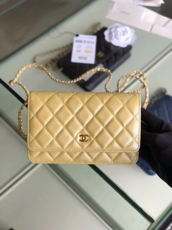 Chanel classic wallet on chain Grained Calfskin & gold-Tone Metal 33814 Pearlescent apricot