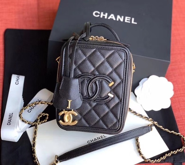 Chanel vanity case Grained Calfskin & Gold-Tone Metal AS0988 black