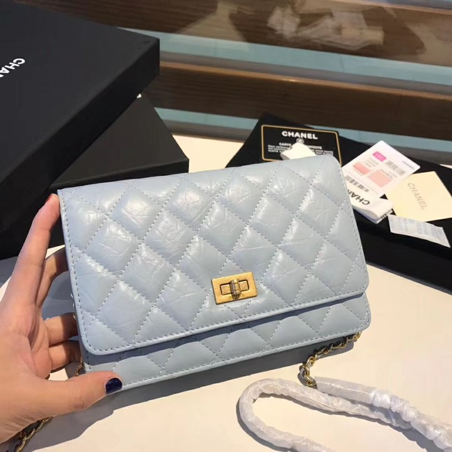 Chanel Calfskin & Gold-Tone Metal S33814 light blue