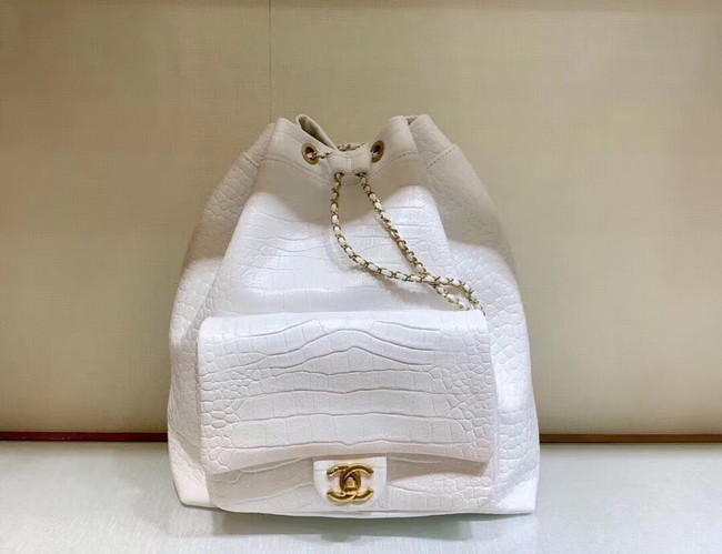 Chanel Original Leather Backpack AS0800 White