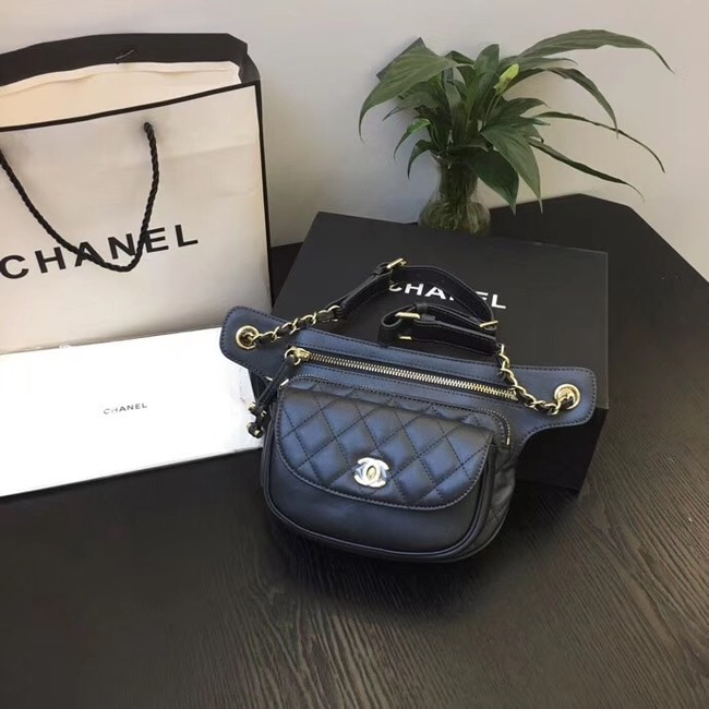 Chanel Original Leather Belt Bag Black SA0814 Gold