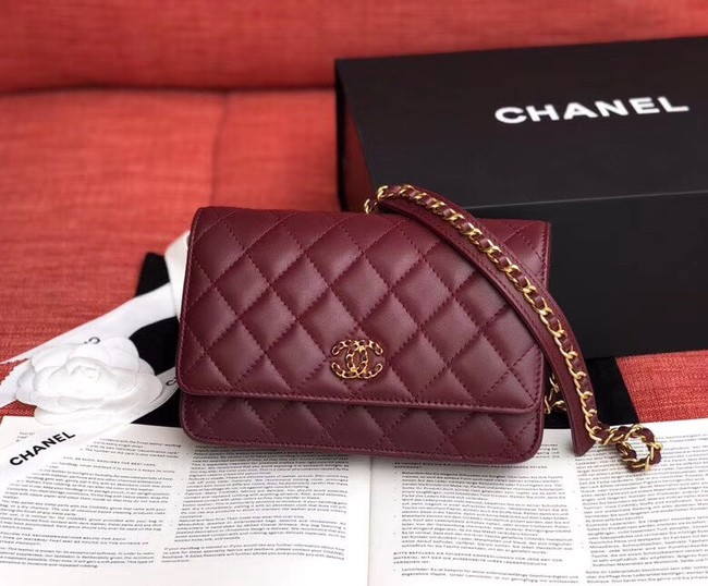 Chanel Original Sheepskin Leather Belt Bag Wine 33866 Gold
