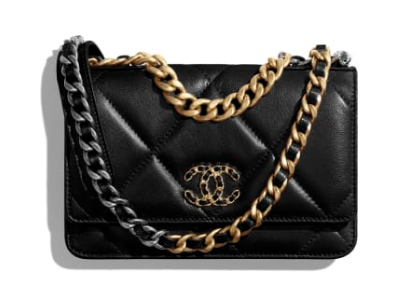 Chanel 19 Classic Sheepskin Leather Chain Wallet AP0957 black Gold-Tone Metal