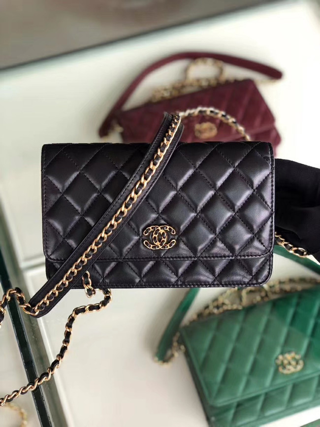 Chanel Original Leather Chain Wallet AP0724 black