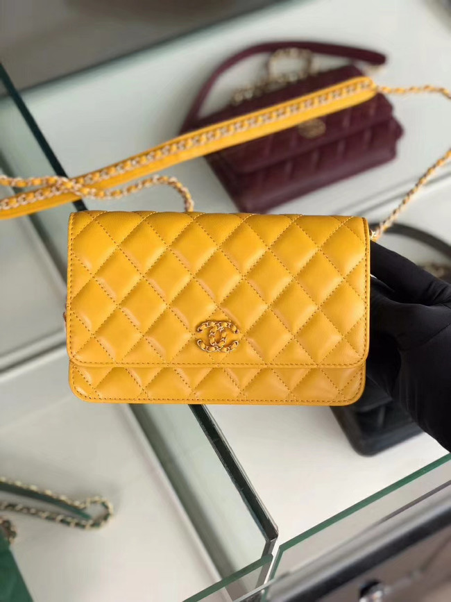Chanel Original Leather Chain Wallet AP0724 yellow