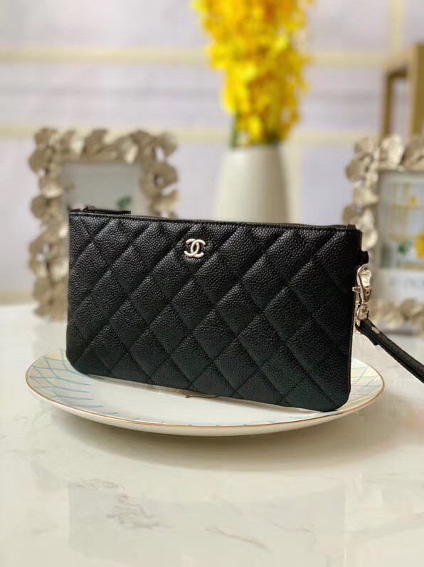Chanel Grained Calfskin Clutch Bag & silver-Tone Metal A009 black