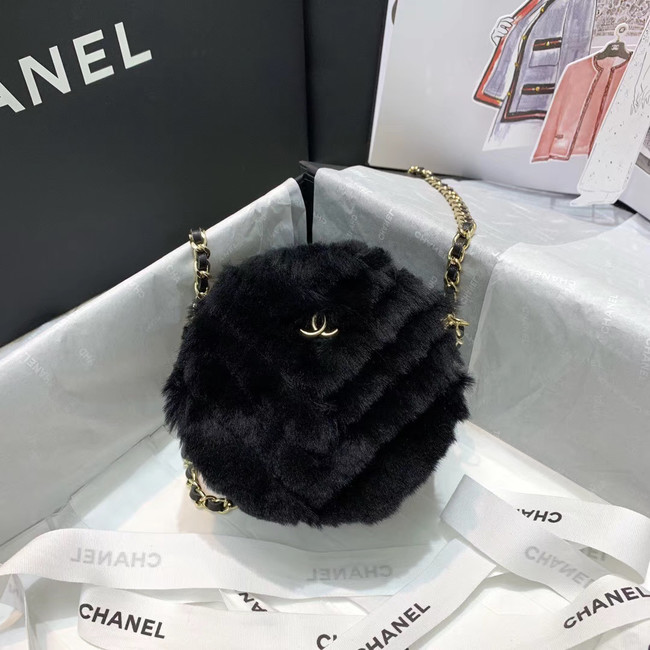 Chanel Wool sheepskin & Gold-Tone Metal AP0366 black