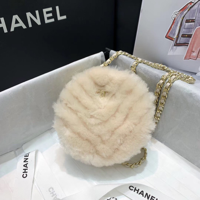 Chanel Wool sheepskin & Gold-Tone Metal AP0366 white