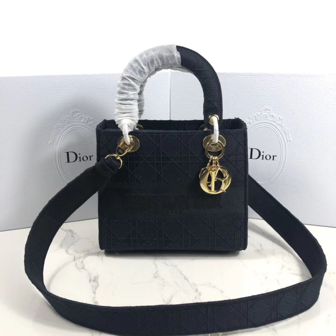 DIOR TOTE BAG IN EMBROIDERED CANVAS C4532 black