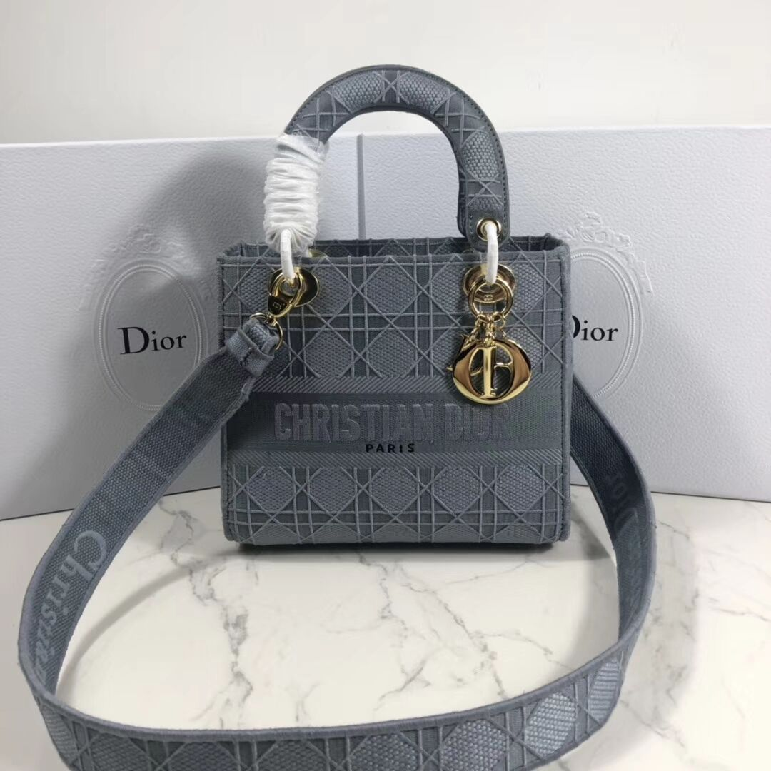 LADY DIOR TOTE BAG IN EMBROIDERED CANVAS C4532 grey blue