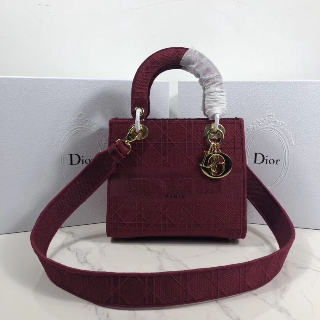 LADY DIOR TOTE BAG IN EMBROIDERED CANVAS C4532 Bordeaux
