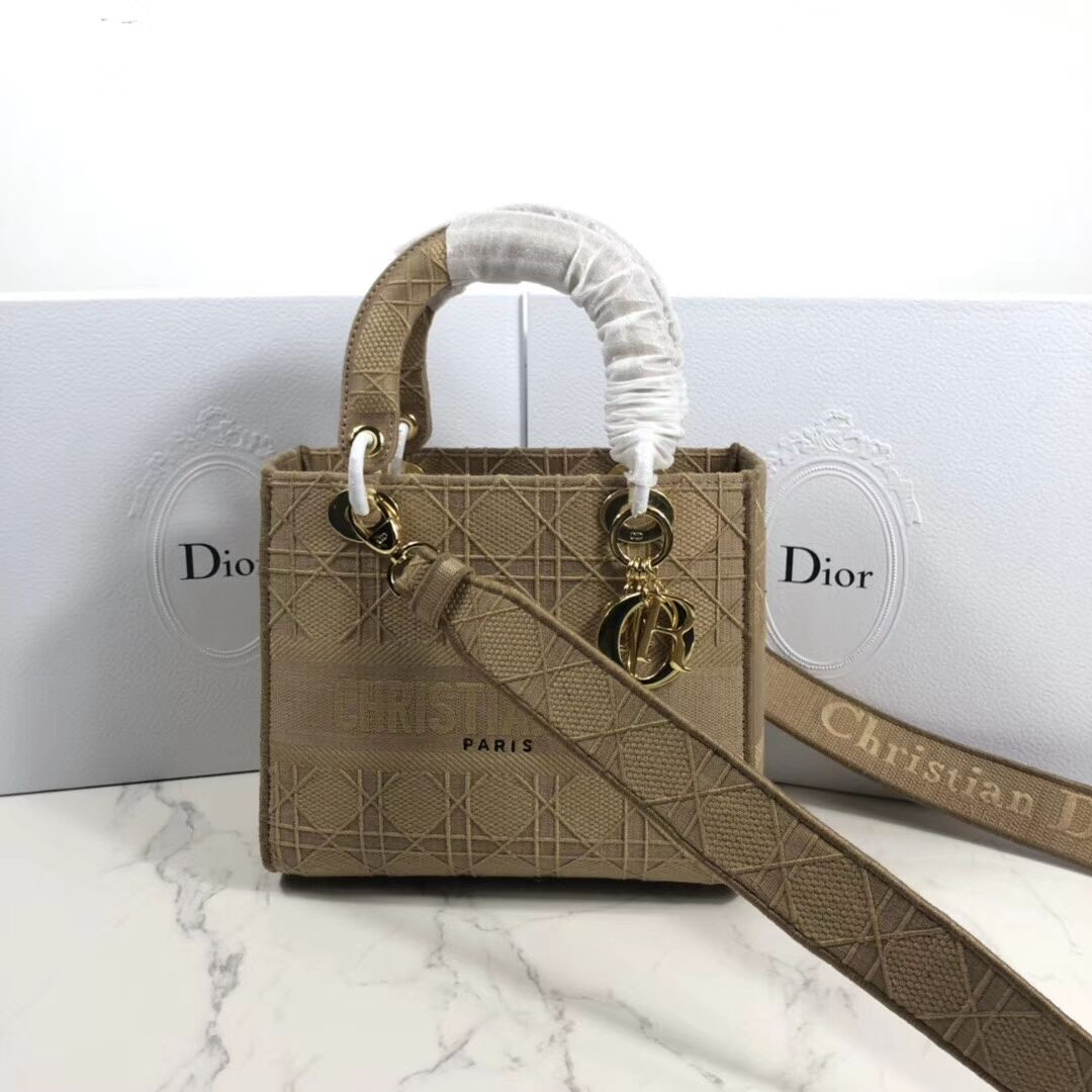 LADY DIOR TOTE BAG IN EMBROIDERED CANVAS C4532 apricot