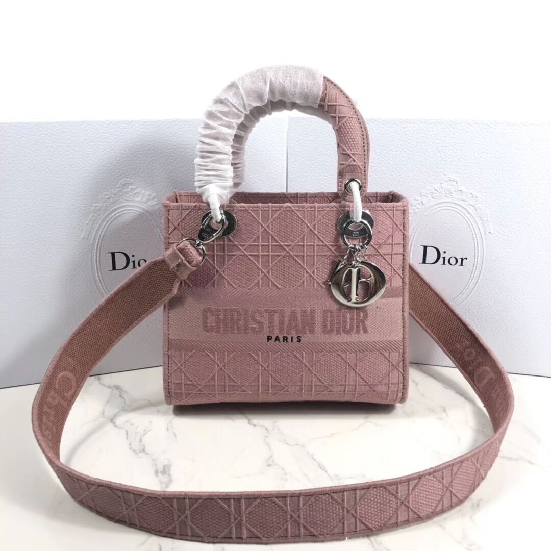 MINI LADY DIOR TOTE BAG IN EMBROIDERED CANVAS C4532 pink