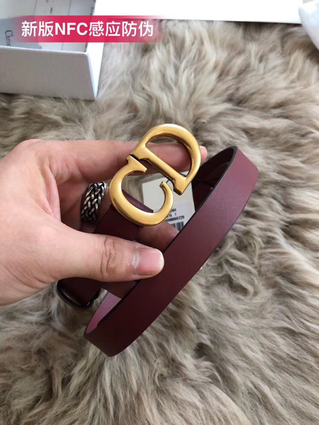 Dior Calf Leather Belt Wide with 20mm 5361 Burgundy