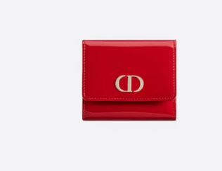Dior MEDIUM RED 30 MONTAIGNE LOTUS PATENT CALFSKIN WALLET S2057