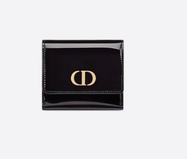 Dior MEDIUM BLACK 30 MONTAIGNE LOTUS PATENT CALFSKIN WALLET S2057
