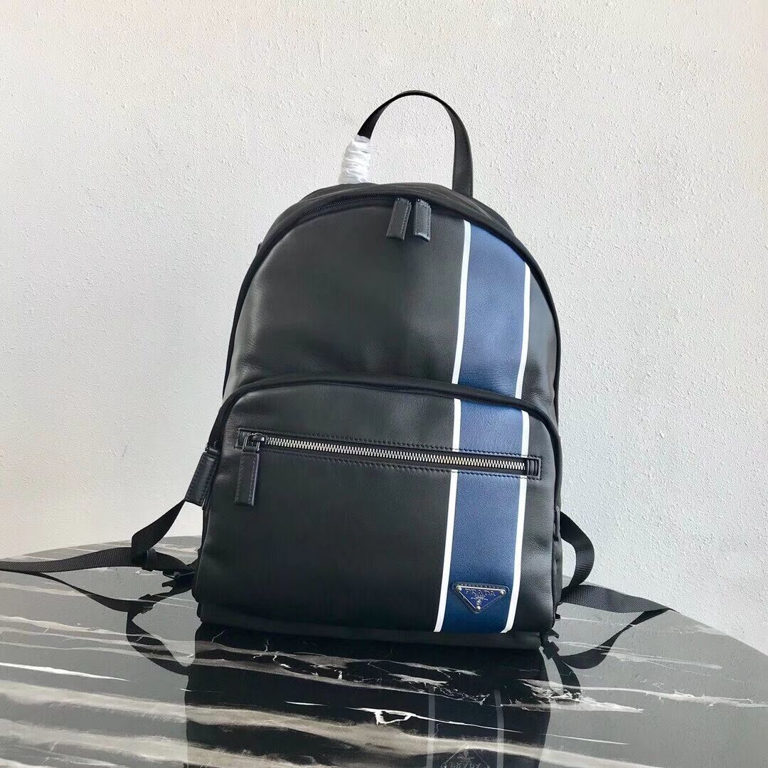 Prada Technical fabric and leather backpack 2VZ066 black&blue