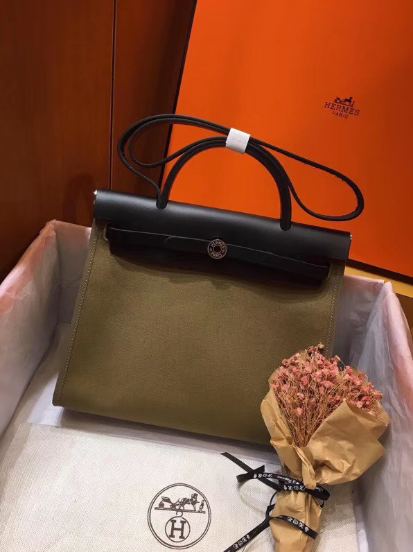 Hermes Herbag 31CM Original Canvas Leather & Calfskin 45987 green&Black