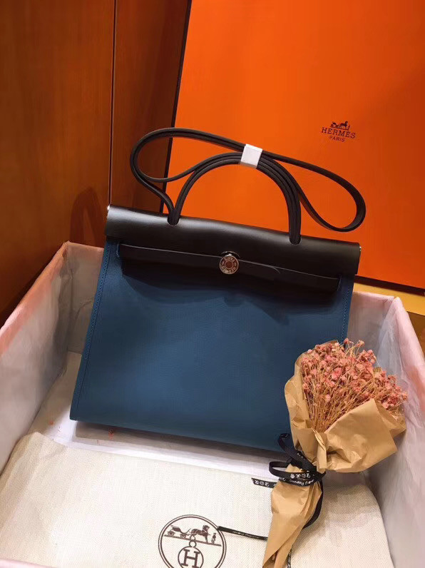 Hermes Herbag 31CM Original Canvas Leather & Calfskin 45987 Blue&Black