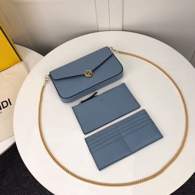 Fendi WALLET ON CHAIN WITH POUCHES leather mini-bag F0005 light blue