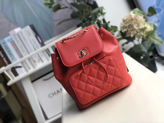 Chanel backpack Grained Calfskin & Gold-Tone Metal A57571 red