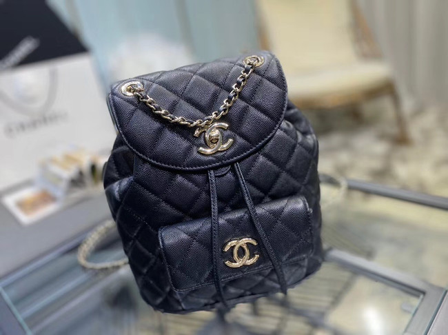 Chanel backpack Grained Calfskin & Gold-Tone Metal AS1371 black