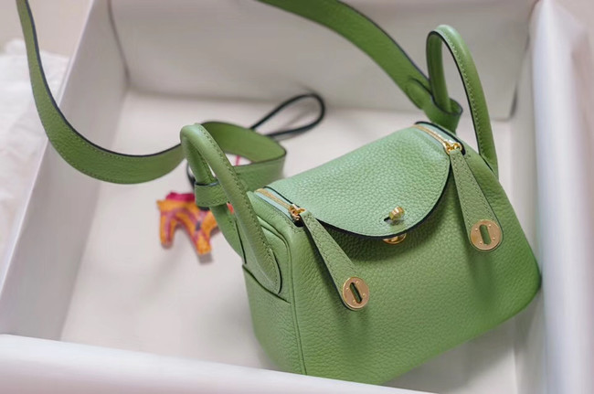 Hermes mini Lindy Togo Leather Bag LD19 green&gold-Tone Metal