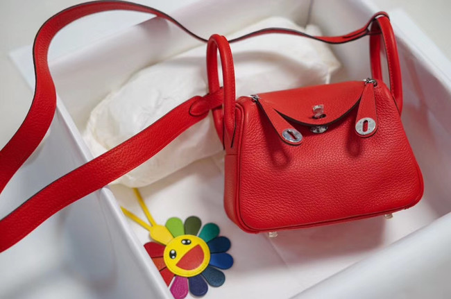 Hermes mini Lindy Togo Leather Bag LD19 red&Silver-Tone Metal