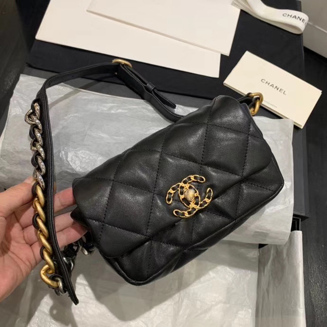 Chanel 19 Bodypack Sheepskin Leather AS1163 black