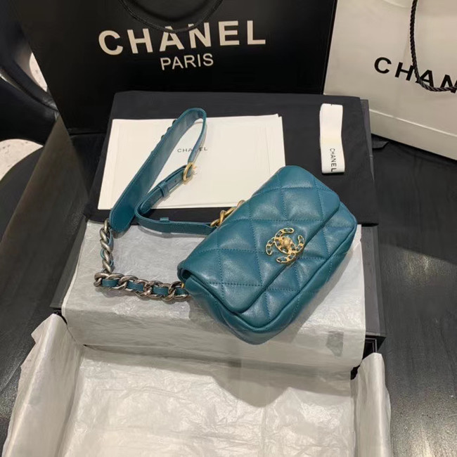 Chanel 19 Bodypack Sheepskin Leather AS1163 blue