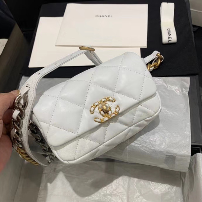 Chanel 19 Bodypack Sheepskin Leather AS1163 white