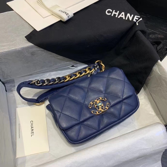 Chanel 19 Bodypack Sheepskin Leather AS1163 dark blue