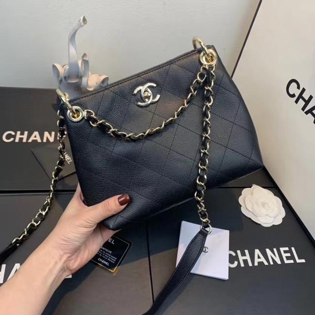 Chanel Small Calfskin hobo bag AS1461 black