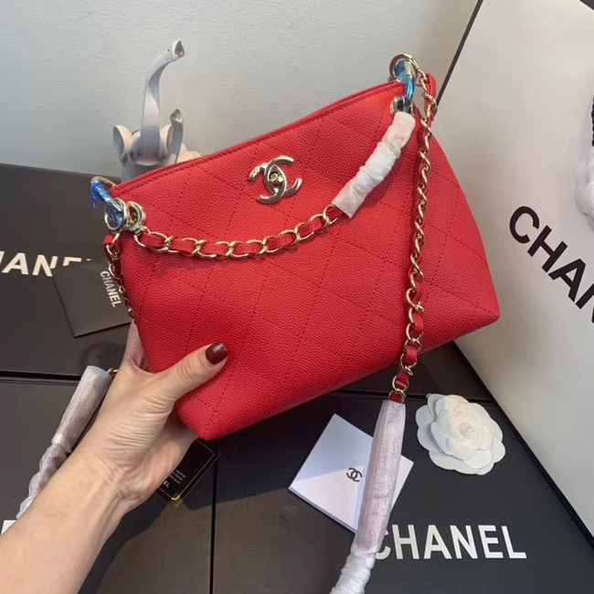 Chanel Small Calfskin hobo bag AS1461 red