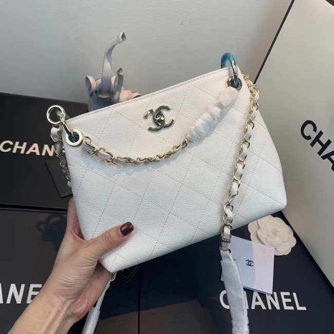 Chanel Small Calfskin hobo bag AS1461 white