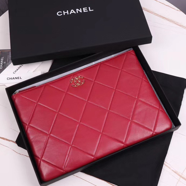 CHANEL 19 Sheepskin Original Leather Carry on bag AP0952 red