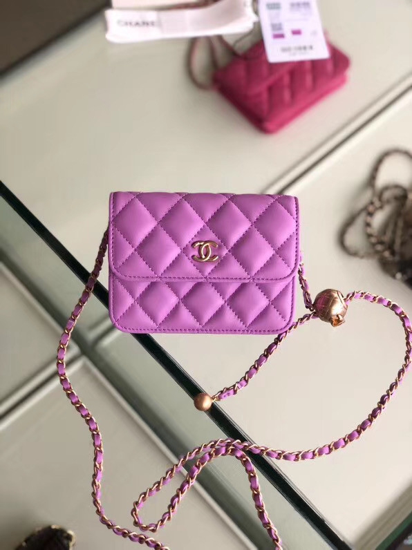 Chanel Original Small classic Sheepskin Shoulder Bag AP0146 Lavender