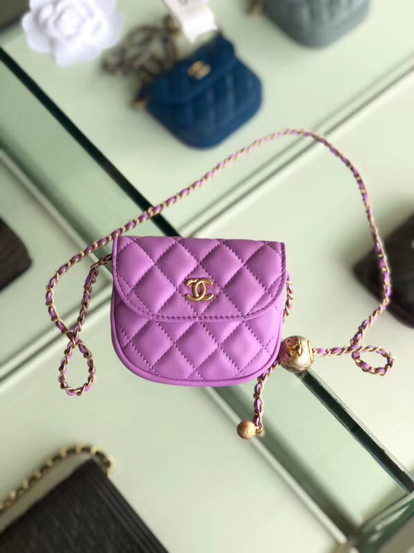 Chanel Sheepskin Original Leather Pocket AP1461 Lavender