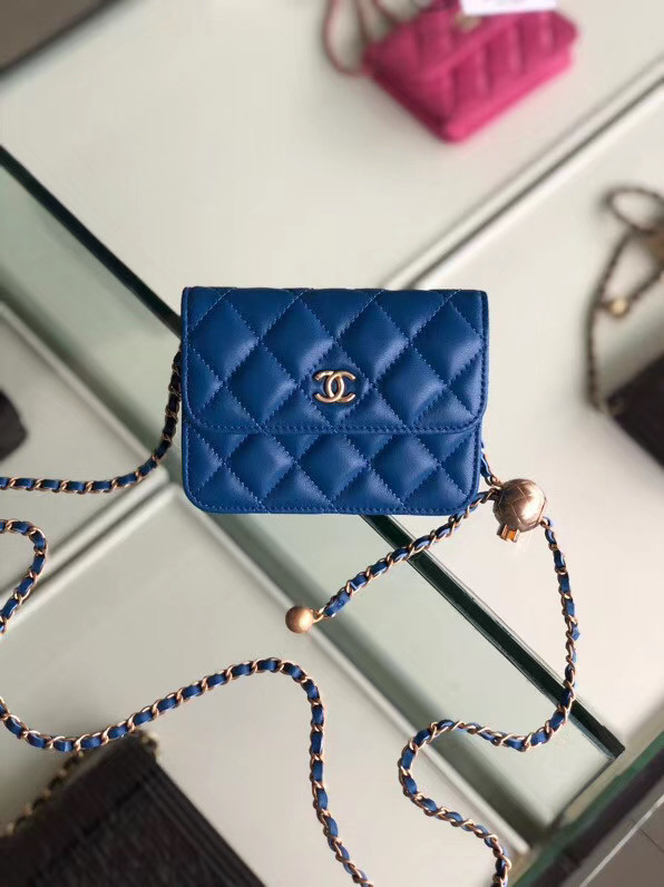 Chanel Original Small classic Sheepskin Shoulder Bag AP0146 blue