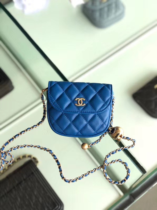 Chanel Sheepskin Original Leather Pocket AP1461 blue