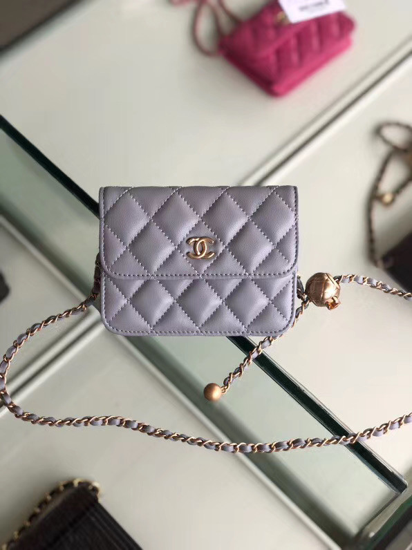 Chanel Sheepskin Original Leather Pocket AP0146 grey