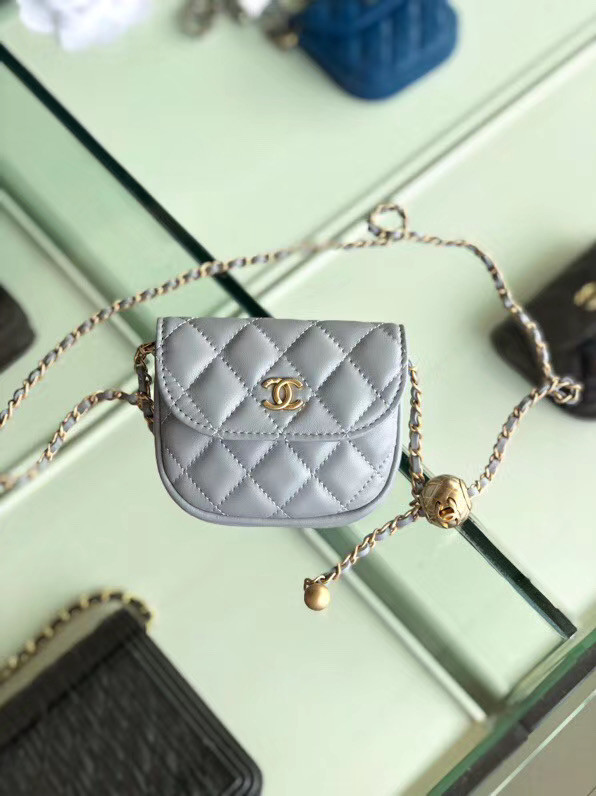 Chanel Sheepskin Original Leather Pocket AP1461 grey