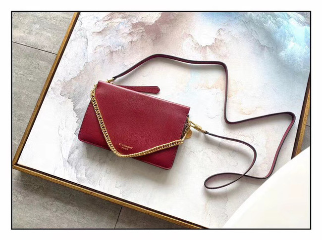 GIVENCHY leather and suede shoulder bag 9337 Wine