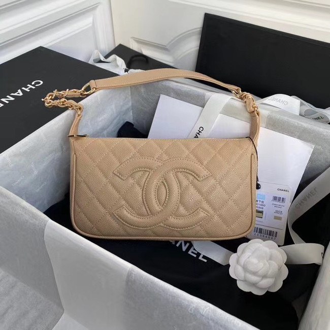 Fashion Chanel Original Caviar Leather Classic Bag 36988 Beige