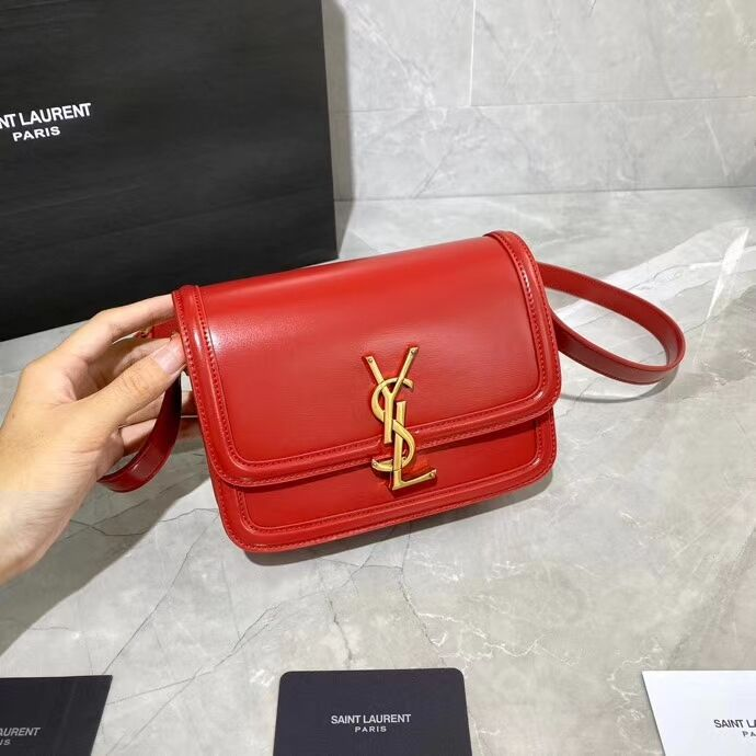 SOLFERINO SMALL SATCHEL IN BOX SAINT LAURENT LEATHER 63430 red