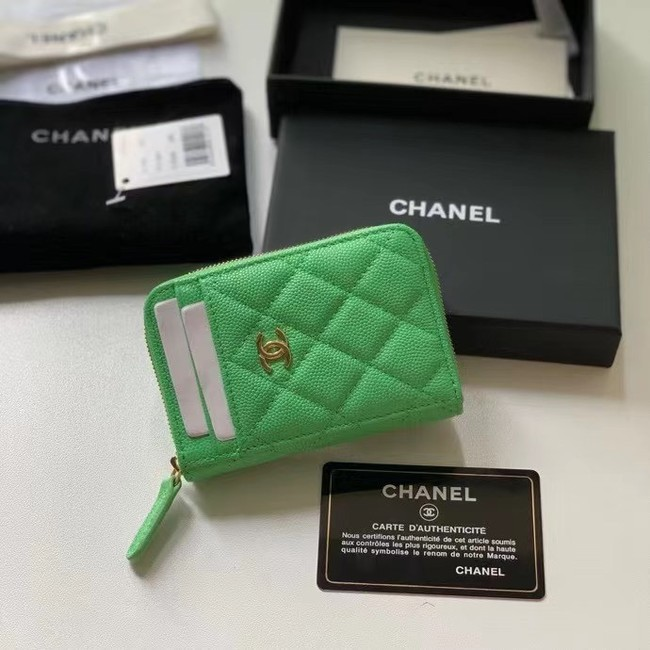 Chanel card holder Calfskin AP1650 green