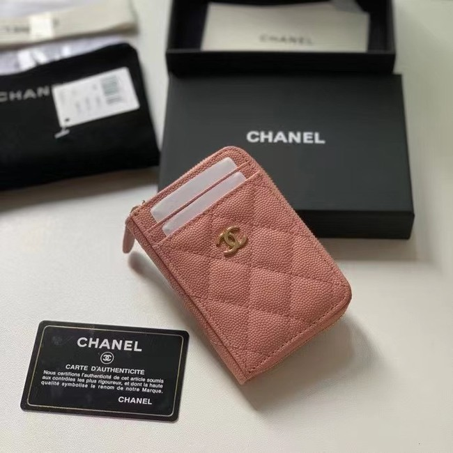 Chanel card holder Calfskin AP1650 pink