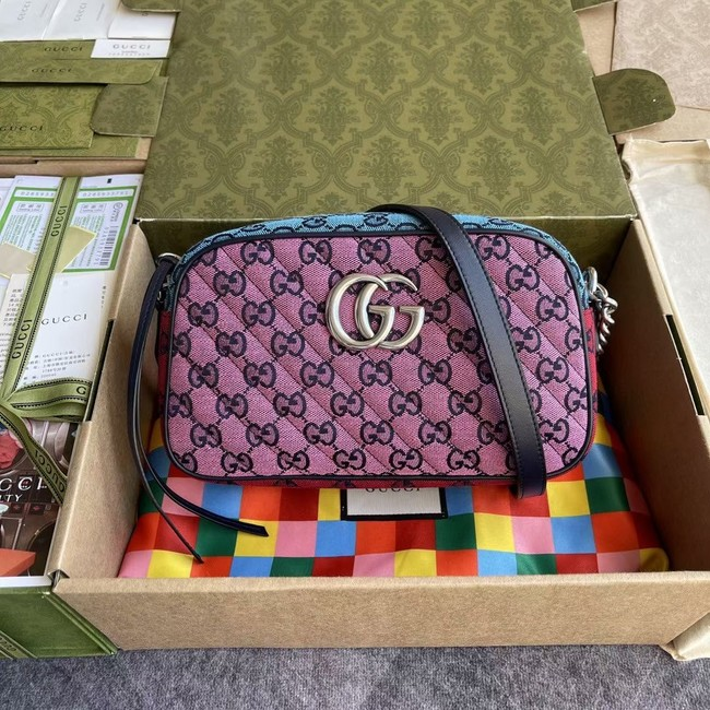 Gucci GG Marmont Multicolor small shoulder bag 447632 Green&yellow&red& powder